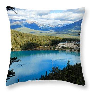 Lake Louise Chalet Throw Pillow