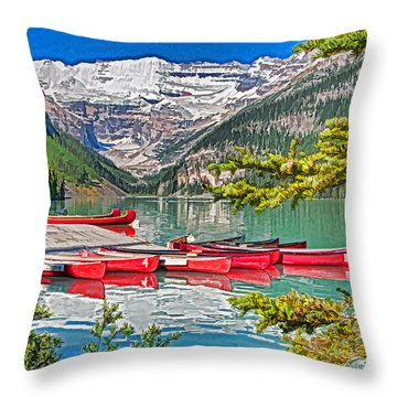 Lake Louise Throw Pillow by Dennis Cox WorldViews