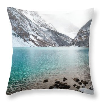Lake Louise Mountain Snow Forest Landscape Throw Pillow by Andrea Hazel Ihlefeld