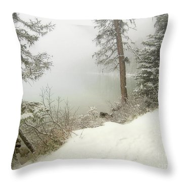 Throw Pillow featuring the photograph Lake Louise Shore by Andrea Hazel Ihlefeld