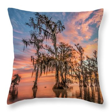 Lake Maurepas On Fire Throw Pillow