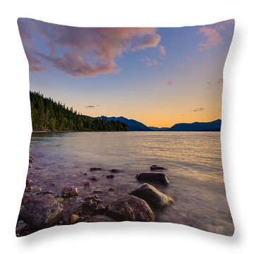 Lake Mcdonald At Sunset Horizontal Throw Pillow