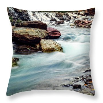 Lake Mcdonald Falls, Glacier National Park, Montana Throw Pillow