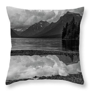 Lake Mcdonald Sunset In Black And White Throw Pillow
