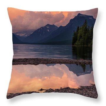 Lake Mcdonald Sunset Throw Pillow by Mark Kiver