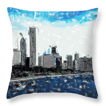 Lake Michigan And The Chicago Skyline Throw Pillow