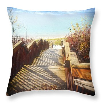 Throw Pillow featuring the photograph Lake Michigan In The North by Michelle Calkins