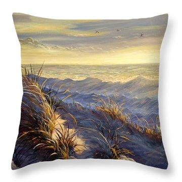 Lake Michigan In Winter Throw Pillow