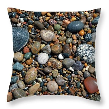 Throw Pillow featuring the photograph Lake Michigan Stone Collection by Michelle Calkins