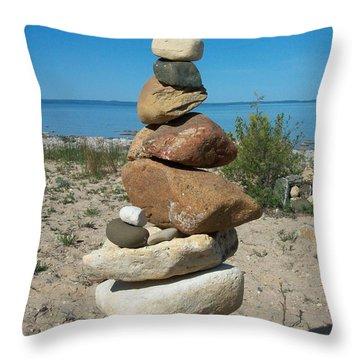 Lake Michigan Stone Pyramid Throw Pillow by Johnny Yen