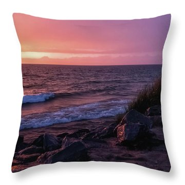 Throw Pillow featuring the photograph Lake Michigan Sunset by Heather Kenward