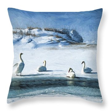 Lake Michigan Swans Throw Pillow by Dennis Cox
