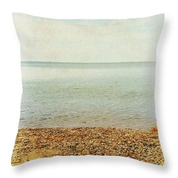 Throw Pillow featuring the photograph Lake Michigan With Stony Shore by Michelle Calkins
