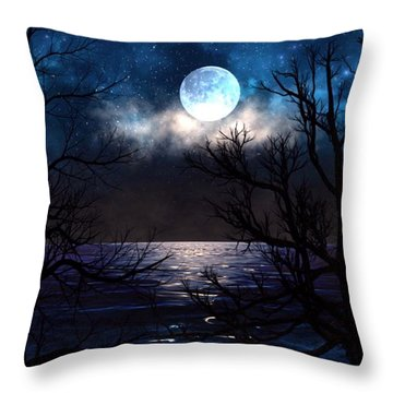 Throw Pillow featuring the painting Lake Midnight by Mark Taylor