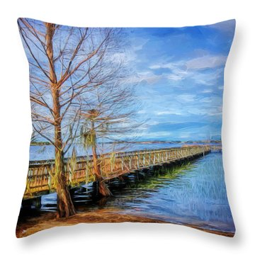 Lake Minneola Pier Throw Pillow
