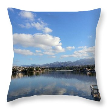 Lake Mission Viejo Cloud Reflections Throw Pillow