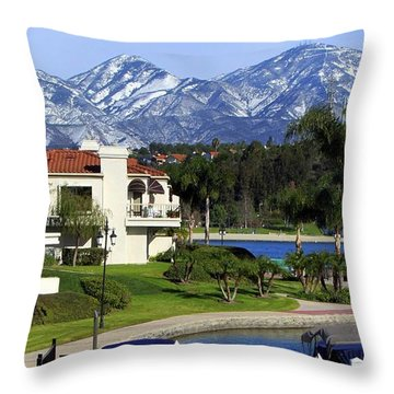 Lake Mission Viejo Snow On Saddleback Mountain Throw Pillow