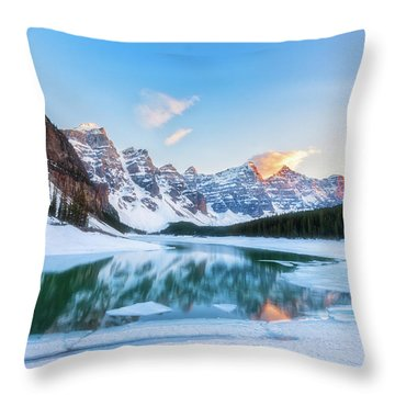 Lake Moraine Sunset Throw Pillow