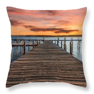 Lake Murray Lodge Pier At Sunrise Landscape Throw Pillow