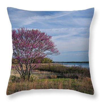 Lake Murray Redbud Tree Throw Pillow