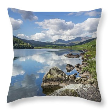 Throw Pillow featuring the photograph Lake Mymbyr And Snowdon by Ian Mitchell