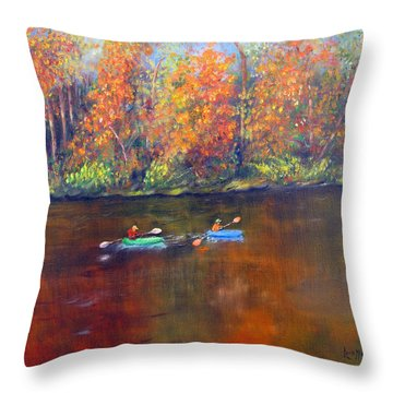 Lake Nockamixon Autumn Throw Pillow by Loretta Luglio