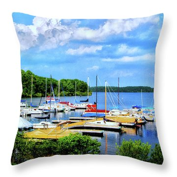 Lake Nockamixon Marina Throw Pillow