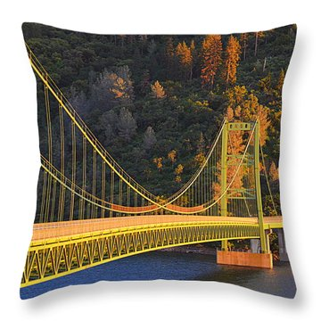 Throw Pillow featuring the photograph Lake Oroville Green Bridge At Sunset by AJ Schibig