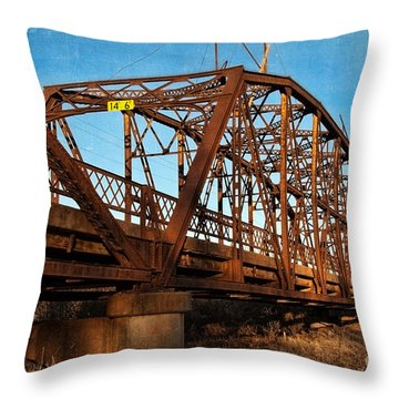 Lake Overholser Bridge Throw Pillow by Lana Trussell