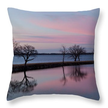 Lake Overholser Sunset Throw Pillow