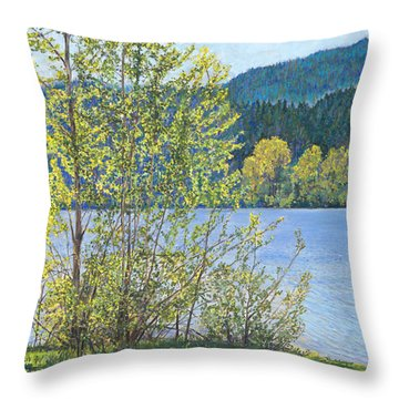 Lake Padden-memorial Bench Of Art And Stacia Christopher Throw Pillow