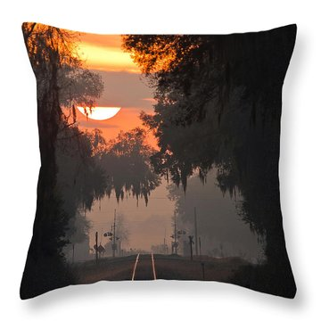 Lake Park Sunrise Throw Pillow by Dan Wells
