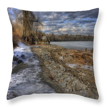 Lake Pend D'oreille At Humbird Ruins Throw Pillow
