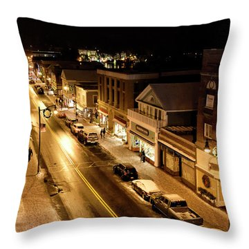 Throw Pillow featuring the photograph Lake Placid New York - Main Street by Brendan Reals