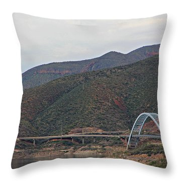 Lake Roosevelt Bridge 2 Throw Pillow