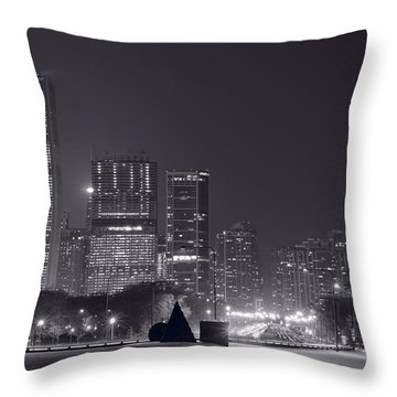 Lake Shore Drive Chicago B And W Throw Pillow by Steve Gadomski
