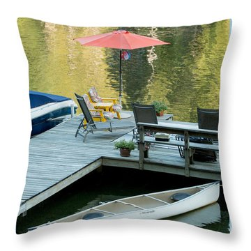 Lake-side Dock Throw Pillow