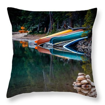 Kayaks At Rest Throw Pillow