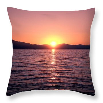 Lake Sunset 8pm Throw Pillow