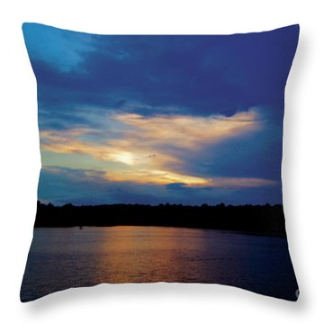 Lake Sunset Throw Pillow by Debra Crank