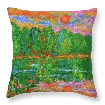 Lake Sunset Throw Pillow by Kendall Kessler