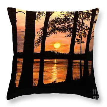 Throw Pillow featuring the painting Lake Sunset by Patricia L Davidson