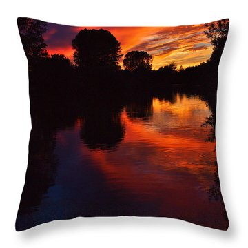 Lake Sunset Reflections Throw Pillow