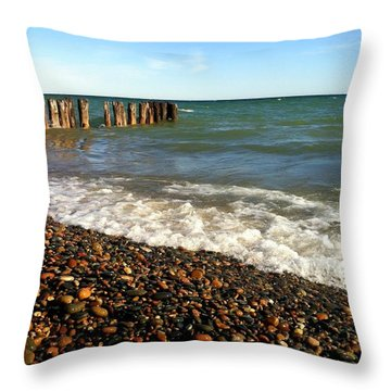 Lake Superior At Whitefish Point Throw Pillow by Michelle Calkins