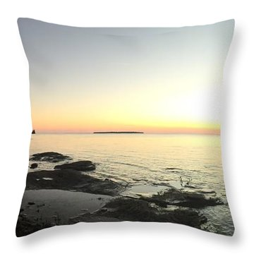 Throw Pillow featuring the photograph Lake Superior Evening Sky by Paula Brown
