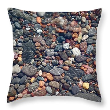 Throw Pillow featuring the photograph Lake Superior Stones by Sandra Updyke