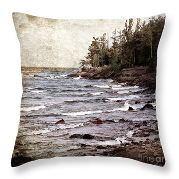 Throw Pillow featuring the photograph Lake Superior Waves by Phil Perkins