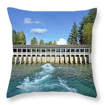 Throw Pillow featuring the photograph Lake Tahoe Dam by David Lawson