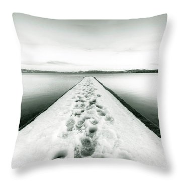Lake Tahoe Footprints In The Snow  Throw Pillow