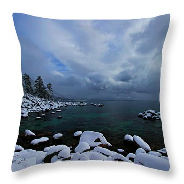 Lake Tahoe Snow Day Throw Pillow
